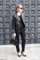 black The Kooples jacket - black Anya Hindmarch bag - black Ray Ban sunglasses