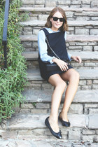 black Chanel bag - navy VANESSA BRUNO dress - light blue The Kooples shirt