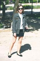 army green Topshop jacket - black Chanel bag - black ray-ban sunglasses