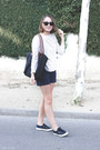 White-apc-shirt-black-longchamp-bag-navy-apc-shorts
