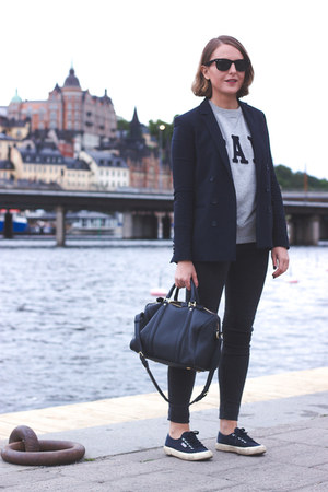 navy The Kooples blazer - charcoal gray acne jeans - navy Louis Vuitton bag