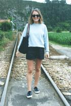 black longchamp bag - navy Wood Wood shorts - black ray-ban sunglasses