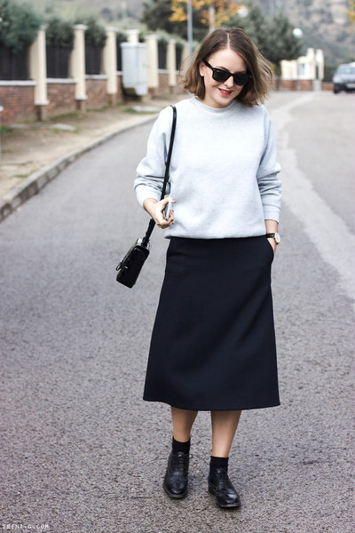 navy COS skirt - black CHURCHS shoes - silver Fruit of the Loom sweater