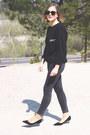 Dark-gray-acne-jeans-black-ray-ban-sunglasses-black-jimmy-choo-heels