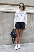 silver APC sweatshirt - navy Louis Vuitton bag - black Wood Wood shorts