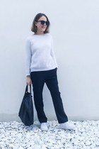 white The Kooples sweater - black Celine bag - dark brown Celine sunglasses