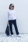White-the-kooples-sweater-black-celine-bag-dark-brown-celine-sunglasses