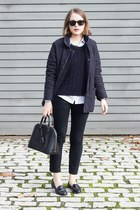 black Louis Vuitton bag - navy Barbour jacket - navy SANDRO sweater