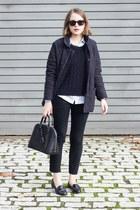 black Louis Vuitton bag - navy Barbour jacket - navy SANDRO sweater