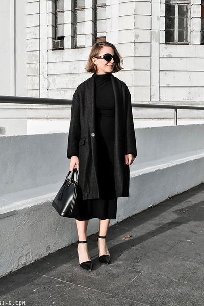 black Alexander Wang shoes - black Reformation dress - black Isabel Marant coat
