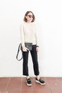 Dark-gray-topshop-jeans-ivory-sandro-sweater-black-saint-laurent-bag
