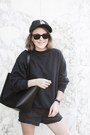 Black-mansur-gavriel-bag-black-levis-shorts-black-ray-ban-sunglasses