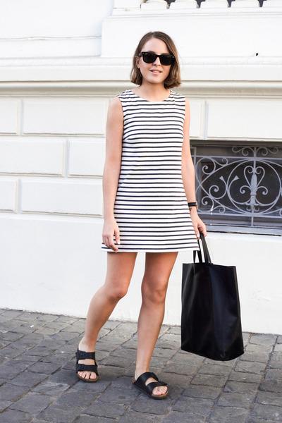 black Celine bag - white Wood Wood dress - black Ray Ban sunglasses