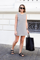 black Celine bag - white Wood Wood dress - black Ray Ban sunglasses