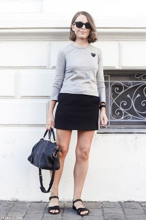 black Ray Ban sunglasses - navy Louis Vuitton bag - black The Kooples skirt