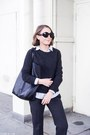 Dark-gray-equipment-sweater-light-blue-jcrew-shirt-black-celine-bag