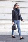 Light-blue-gap-jeans-black-the-kooples-jacket-black-petit-bateau-sweater
