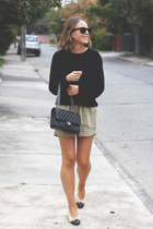 black Chanel bag - olive green Isabel Marant shorts - black ray-ban sunglasses