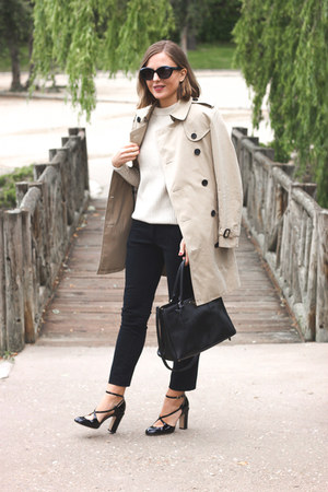 black Prada bag - tan Burberry coat - ivory SANDRO sweater