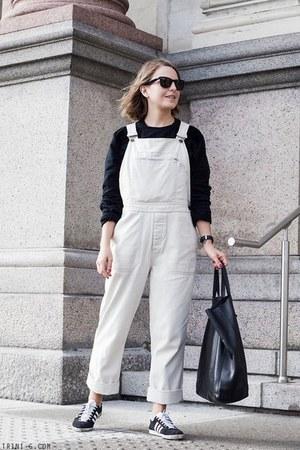 black Celine bag - black Ray Ban sunglasses - ivory Margaret Howell bodysuit