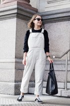 black Celine bag - black Ray Ban sunglasses - ivory Margaret Howell bodysuit