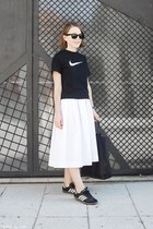 black Celine bag - black Ray Ban sunglasses - white MaxMara skirt