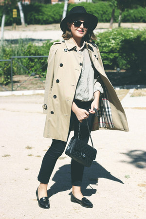 black Miu Miu shoes - tan Burberry coat - beige vintage shirt - black Chanel bag