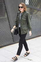 black Yves Saint Laurent bracelet - army green Topshop jacket