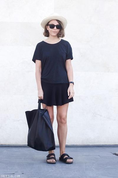 black ray-ban sunglasses - cream JCrew hat - dark gray acne t-shirt