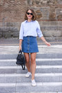 Light-blue-club-monaco-shirt-navy-louis-vuitton-bag-black-ray-ban-sunglasses