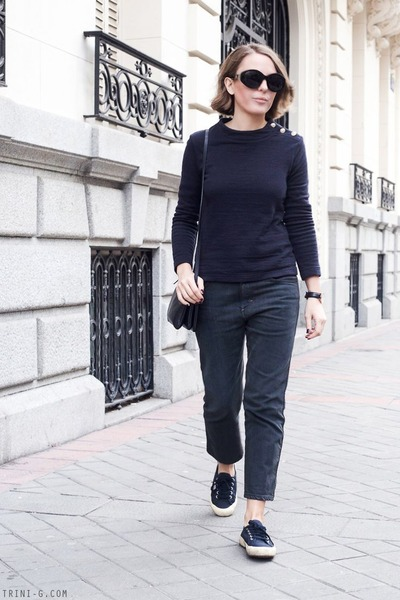 navy Petit Bateau sweater - dark gray acne jeans - navy Celine bag