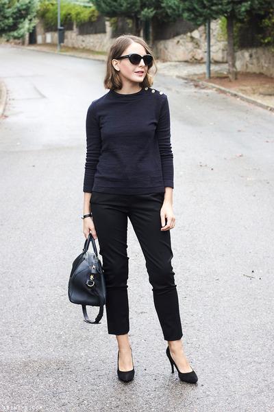 black Marc Jacobs sunglasses - navy Louis Vuitton bag - black The Kooples pants