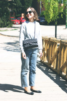 black Chanel bag - light blue Claudie Pierlot jeans - black ray-ban sunglasses