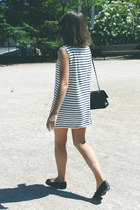 black Chanel bag - white Wood Wood dress - black ray-ban sunglasses