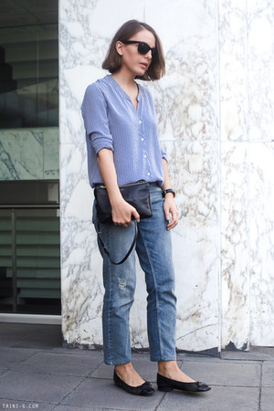 black Chanel bag - navy Celine bag - light blue Claudie Pierlot jeans