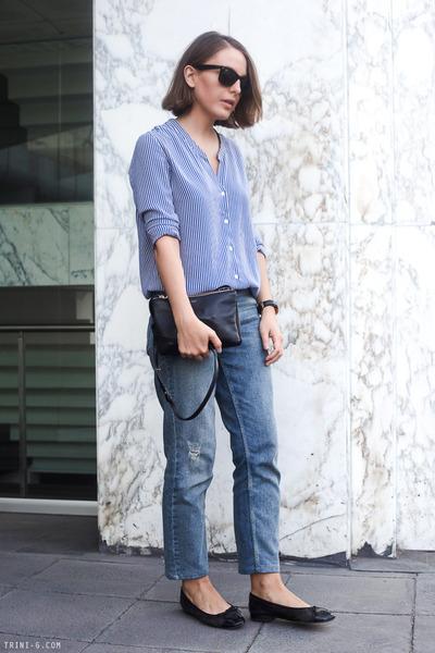 black Chanel bag - navy Celine bag - light blue Claudie Pierlot jeans