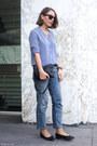 Light-blue-claudie-pierlot-jeans-sky-blue-the-kooples-shirt-navy-celine-bag