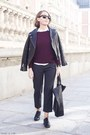 Black-churchs-shoes-black-the-kooples-jacket-crimson-apc-sweater