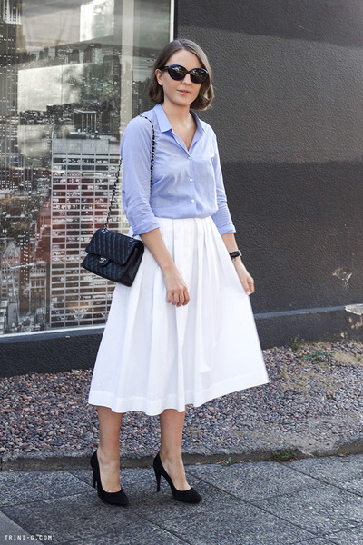 periwinkle The Kooples shirt - black Robert Clergerie shoes - black Chanel bag
