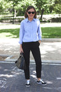 Light-blue-club-monaco-shirt-black-louis-vuitton-bag