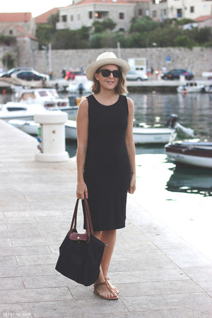 black Gap dress - eggshell JCrew hat - black longchamp bag