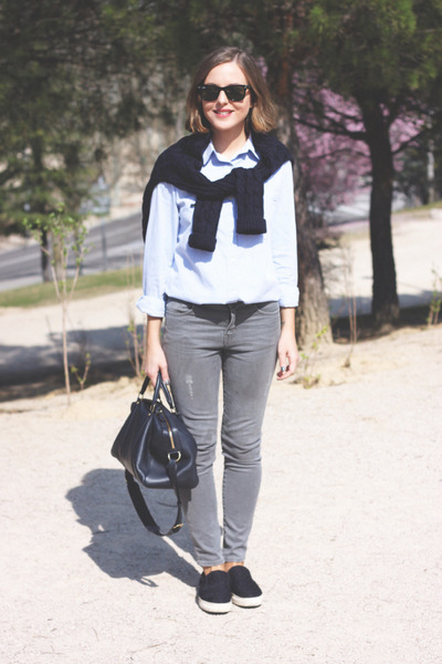heather gray The Kooples jeans - navy SANDRO sweater