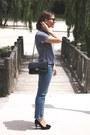 Sky-blue-gap-jeans-black-chanel-bag-black-ray-ban-sunglasses