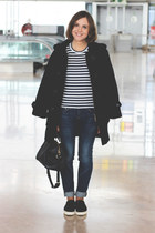 navy Barbour coat - navy rag & bone jeans - Louis Vuitton bag