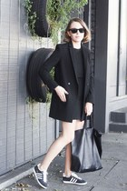 black The Kooples dress - black The Kooples coat - black Celine bag