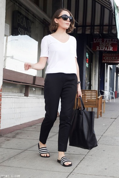 white t by alexander wang t-shirt - black Celine bag - black ray-ban sunglasses