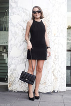 black dress - black bag - black sunglasses - black heels - black watch