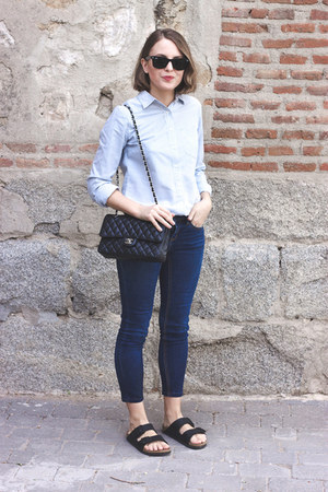 black Chanel bag - navy Topshop jeans - light blue J Crew shirt
