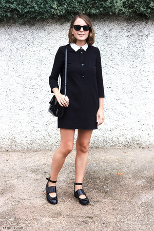 black acne flats - black SANDRO dress - black Reed Krakoff bag