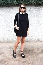 black acne flats - black SANDRO dress - black Reed Krakoff bag